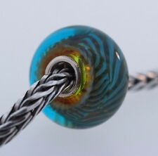 Authentic Trollbeads Blue Green Feather 61350 New Glass Charm Bead