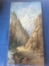 """Antique French c1895 Porcelain Tile Artist Signed Handpainted Alps Painting 15"""""""