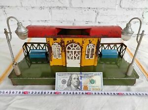 1966 Russia Tin Railway Train Model Pionerskaya Marklin Toy Moskabel Station vtg