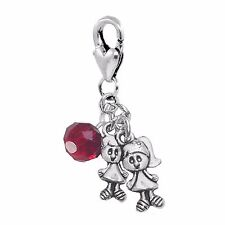 Twin Girls January Baby Birthstone Crystal Clip On Dangle Charm for Bracelets