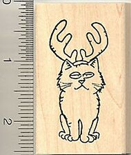 Cute Cat reindeer Rubber Stamp Wood Mounted F7603
