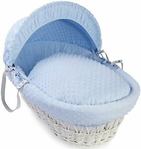 Clair de Lune Waffle White Wicker Moses Basket, Deluxe Padded Blue