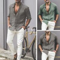 Mens Collar V neck Cotton T-Shirt Long Sleeve Casual Loose Blouse Grandad Shirts