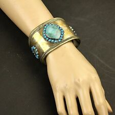 Single Turkman Tribal Gold Plated BRACELET BellyDance Real TURQUOISE Stone 838a4