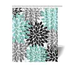 Personalized Black Grey Green Dahlia Floral Waterproof Shower Bath Curtain 60x72