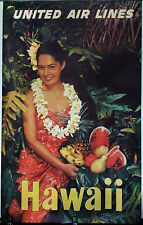 ORIGINAL Vintage Travel Poster UNITED AIRLINES Hula Girl HAWAII Tropical Fruit