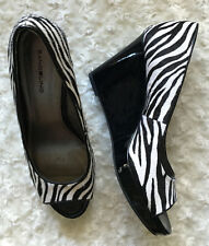 Bandolino Auburn Zebra Calf Hair Designer Shoes Open Toe Platform Wedge Size 9