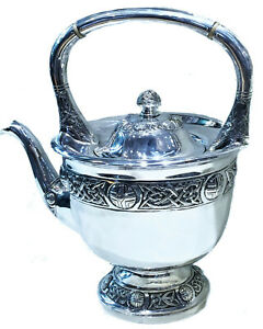 Antique Irish Silver Teapot with Celtic Tracery, Ca. 1900's