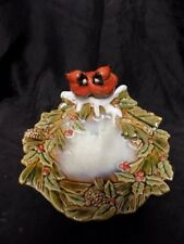 "Vintage Ceramic Candy/Trinket Dish~Cardinals~Winter/Hol iday~8.5"" X 10.5"" X 5"""