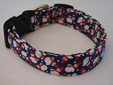 Charming Blue with Little White Snowmen in Red Hats & A Scarf Dog Collar Small