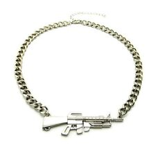 """NEW CELEBRITY STYLE MACHINE GUN PENDANT 8mm/16""""LINK CHAIN NECKLACE HYNK30"""