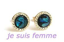 Boucles d'Oreilles  OR JAUNE MASSIF  Nacre Ormeau  7 mm  (Ohrringe) 8k