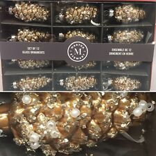 x12 Martha Stewart Christmas Mini Pinecone Glass Ornament Set Glitter Beaded NEW