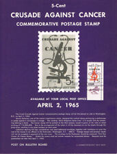 #1263 5c Crusade Against Cancer Stamp Poster-Unofficial Souvenir Page Flat HCZip