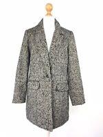 Gharani Strok London Coat Wool Blend Tweed Black Grey UK 10 US 6 Designer Smart