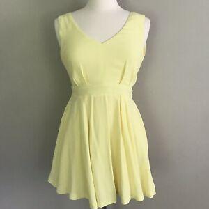 LuLus Womens Skater Mini Dress V Neck Small Pale Yellow Sleeveless Lined Flowy