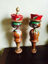 "Vintage LARGE 16""'  Kokeshi Wood Nodder Bobble Head Dolls Pair Korean"