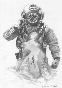 original drawing А4 21DuO art samovar Graphite sketch cosmonaut Signed