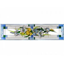 "Iris Flowers Art Glass Window Panel Suncatcher 10 1/4"" x 42"" Horizontal Floral"