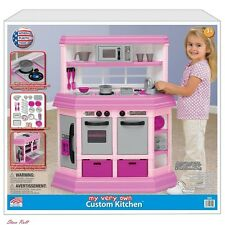 Toy Kitchen Sets for Kids Girls Deluxe Play Child Oven Pink Cooking Burner Chef
