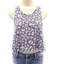 NEW WOMEN'S ABOUND CROP TANK TOP BROWN FLORAL ROSE L LARGE SHIRT COUNTRY GIRL