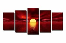 5 Piece Canvas Painting Modern Art Abstract Wall Framed Sunset Ready to Hang Big
