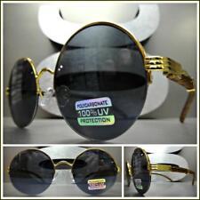CLASSY VINTAGE RETRO Style SUN GLASSES Round Gold & Wood Wooden Frame Dark Lens