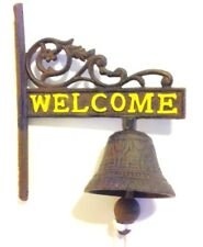 Welcome Yellow Door Bell Wall Mount Cast Iron New Rustic Vintage Old Fashion 7x6