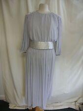 "Ladies Dress custom made, waist 28-30"", 50"" long, pale grey, embroidered 2468"