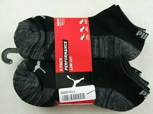 Puma Men's Low Cut Socks 6 Pack L Black Grey Performance Half Terry New MSPR$18
