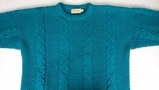 Vintage LL Bean Men Large Green Sweater Pocket Wool Cable Fisherman Knit Heavy B