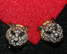 BREATHTAKING AND POPULAR TRIFARI TM SIGNED TIGER CLIP ON EARRINGS WOW EXC...