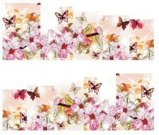 Nail Art Decals Transfers Stickers Pink Flowers & Butterflies (A-145)