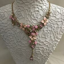 Betsey Johnson Marie Antoinette Flower Y Necklace NWT Statement
