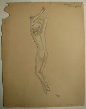 Beau DESSIN Ancien Étude Nu Féminin Jeune Femme ART DÉCO 1940 #11