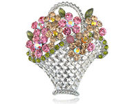 Easter Sunday Pastel Spring Flower Bouquet Rhinestone Wove Basket Pin Brooch New