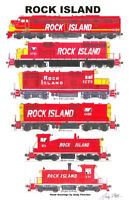 "Rock Island Red-Era Locomotives 11""x17"" Railroad Poster by Andy Fletcher signed"