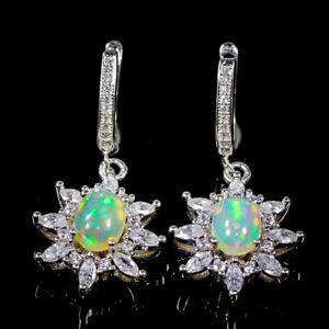 Fine Jewelry SET Opal Earrings Silver 925 Sterling   /E52236