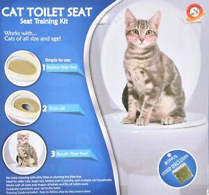 Cat Kitten Hygienic Toilet Litter Tray Potty Training Free Kit with Catnip Seat