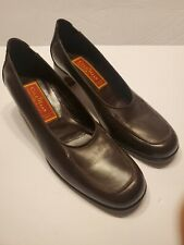 Cole Haan City Pump Womens 6 AA Brown Leather Slip Loafer Heel Shoe F9163 Italy