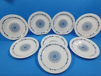 "Set of 8 Pontesa Granada Ironstone Luncheon Plates 8.5"" Blue White Spain"