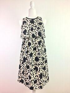 LOFT Maternity Flounce Top Dress Floral Black Beige Size 2 Above Knee G