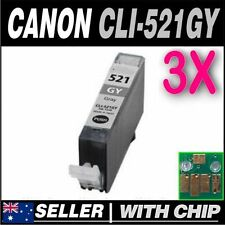 3x Grey Ink for Canon CLI-521 CLI-521GY for PIXMA  MP980 MP990
