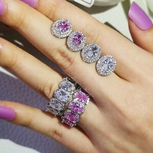 Oval Cut Halo Earring & Eternity Band Engagement Jewelry Set 14K White Gold Over