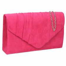 Women Suede Velvet Leather Envelope Ladies Evening Party Prom Smart Clutch Bag