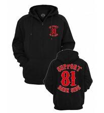 Support 81 Dark Side schwarze Kapuzen Jacke mit 2 Farbigen Aufdruck