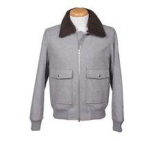 Brunello Cucinelli Wool Fur Collar Puffer Bomber Winter Jacket Coat L NEW BCCA1
