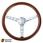 6 Bolt 15 Wood Grain Trim Classic Wooden Steering Wheel Chrome Spoke 380mm