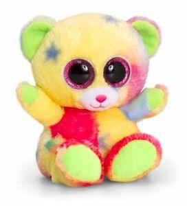 Soft and Cute Multicolor Teddy Bear Big Eyes Plush Rainbow Design New