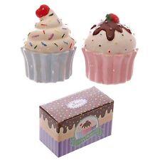 Cupcake design salt and pepper cruet set shakers pots cute cake ceramic